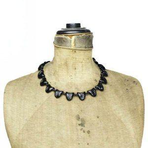 Art Deco Scalloped Black Glass Bead Necklace
